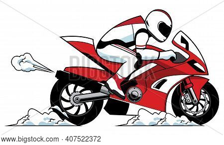 Racer On High Speed Red Motorcycle Rushes To Finish Line.