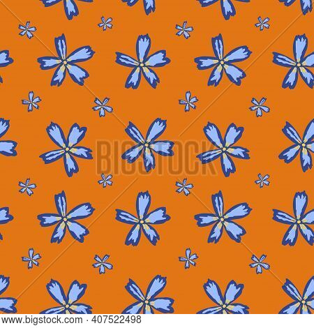 Cute Floral Seamless Pattern On Mustard Color Bakground With Abstract Blue Flowers
