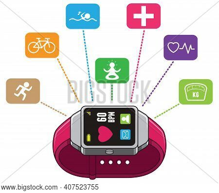 Modern Smart Watch With System For Monitoring And Tracking Your Health.
