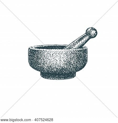 Mortar And Pestle. Vector Ilustration Of Pounder.
