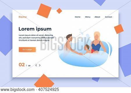 Parents Swimming In Water With Little Child. Activity, Weekend, Lifestyle Concept. Vector Illustrati