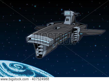 Space Dreadnought Prepares For Planetary Siege And Bombardment. Deep Space Exploration Vessel Arrive