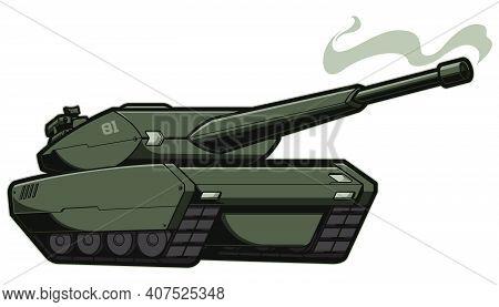 Futuristic Green Combat Vehicle With Gun Smoking After Shot.