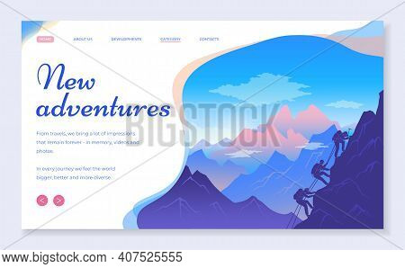 Web Site For Travelers Concept. New Adventures Banner, Website, Poster Template, Colorful Web Page D