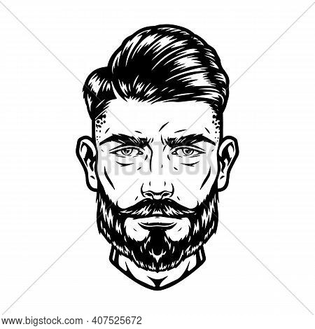 Bearded And Mustached Handsome Man Head With Trendy Hairstyle In Vintage Monochrome Style Isolated V