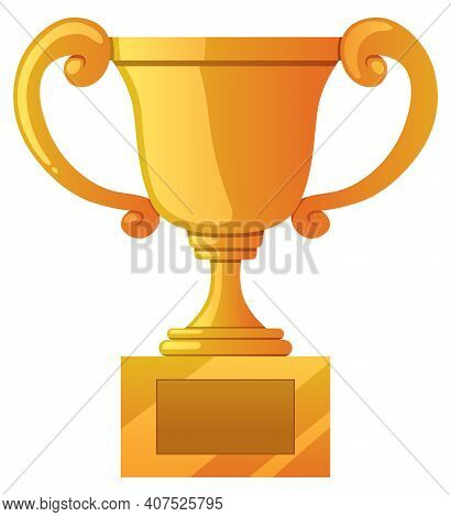 Golden Trophy Isolated On White Background And With Copy Space For The Name Of The Winner.