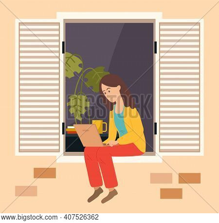 Girl With Computer Is Working At Home. Woman On Freelance Is Sitting On Balcony Of Her House. Female