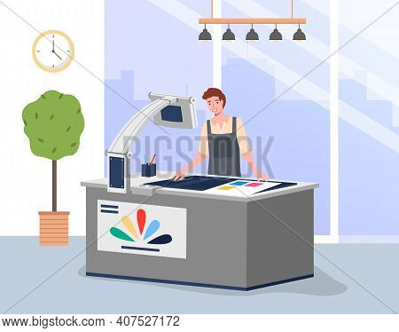 Young Man Working In Typography At Print To Printer. Concept Employee Character, Electronic Device,