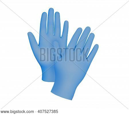 Medical Nitrile Gloves. Two Blue Surgical Gloves Isolated On White Background With Hands. Rubber Glo