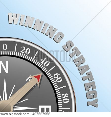 Winning Strategy And Business Success Concept With Compass Vector Illustration