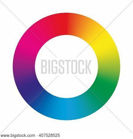 Color Circle - Arrangement Of Color Hues Around A Wheel Or Disc. Vector Illustration With Rainbow Li