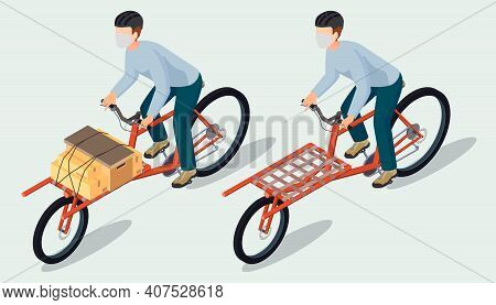Isometric Bicycle Messenger Making A Delivery On A Cargo Bike; Set Of Bicycle Messenger Ride A Cargo