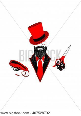 Hairdresser Logo Skull In Tuxedo With Clipper Machine And Scissors Isolated On The White Background.