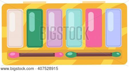 Make-up Palette Container With Colorful Eyeshadows. Makeup Cosmetic Case With Brushes Vector Illustr