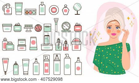Makeup Cosmetics Tools A Set Of Jars, Bottles And Sprays. Beauty Products And The Girl Shows Proper