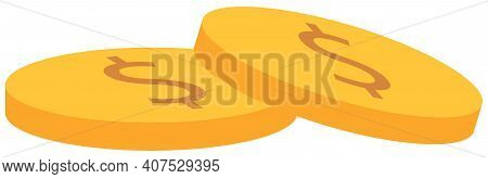 Pile Of Coins For Clip Art. Gold Money Isolated On The White Background. Means To Pay For Goods And