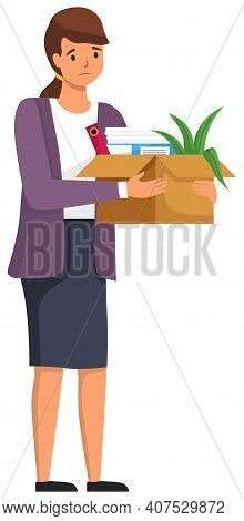 Layoff Concept. Unhappy Fired Woman Leave The Office With Things In Box Isolated On White Background