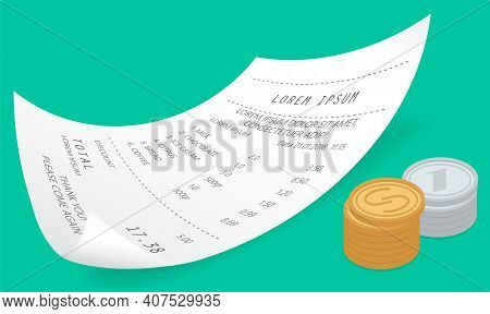 Payment Check Paper Document Near A Pile Of Gold Coins Isometric Vector On Green Background. Receipt