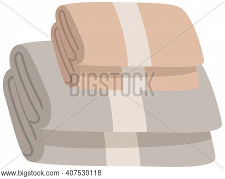 Bathroom Towels Pile Flat Vector Illustration. Gray And Beige Folded Towels Stack Isolated On White