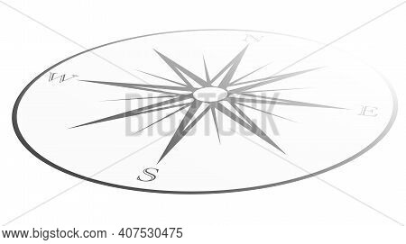 Classic Retro Wind Rose Or Compass Icon Isolated On White Vector Illustration