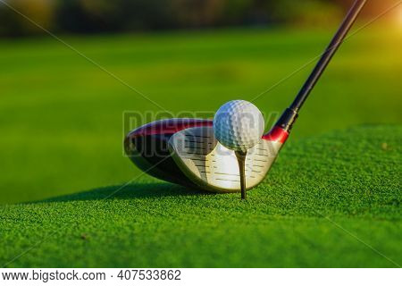 Golf Club And Ball In Grass Concetp.  Golf Balls On The Golf Course With Golf Clubs Ready For Golf I