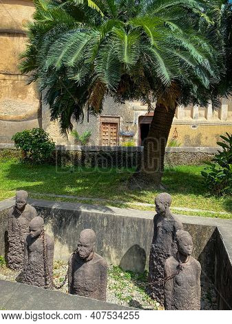 Monument Of Slaves And The Anglican Cathedral In Stone Town, Zanzibar