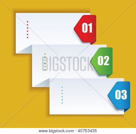 poster of Paper background with numbered banners. Product choice or versions.