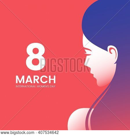 International Womens Day Greeting Card Design With Beautiful Woman And Place For Text. Beautiful Fem