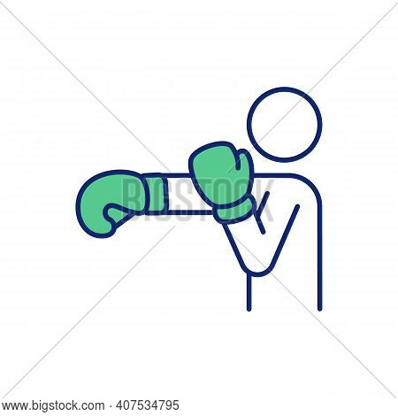 Boxing Training Rgb Color Icon. Cardiovascular Health Improvement. Stress And Aggression Relieving.