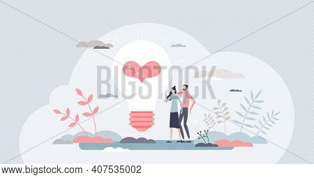Well-being As Positive Mindset And Partner Happiness Tiny Persons Concept