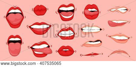 Cartoon Cute Mouth Expressions Facial Gestures Set. Females Mouth To Express Different Emotional Sta