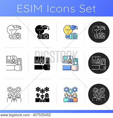 Workshop Icons Set. Getting New Practical Skills. Photography Workshop. Paid Courses. Staff Training