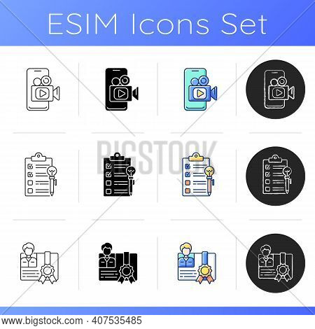 Knowledgeable Presenter Icons Set. Workshop Icons. Mobile Broadcast. Mastery Development. Agenda Wor