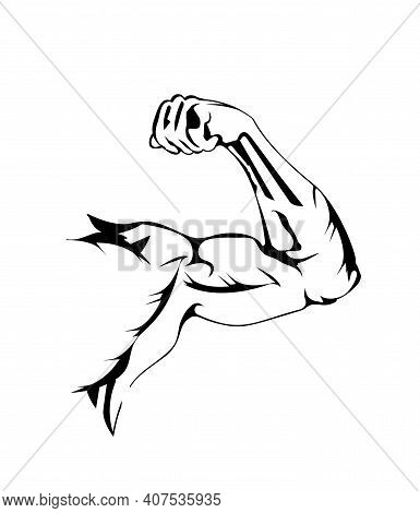 Sports Bend Arm. Muscle Flex Biceps, Flat Icon. Muscular Bodybuilder Hand Pose. Vector Illustration