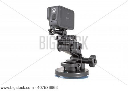 Moscow, Russia - Novemner 11, 2020: New Flagship Action Camera Gopro Hero 9 Black On Original Access