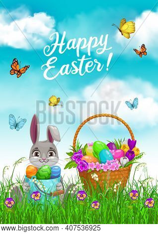 Easter Bunny With Egg Hunt Basket In Grass Vector Design. Rabbit With Easter Egg Bucket Sitting On S