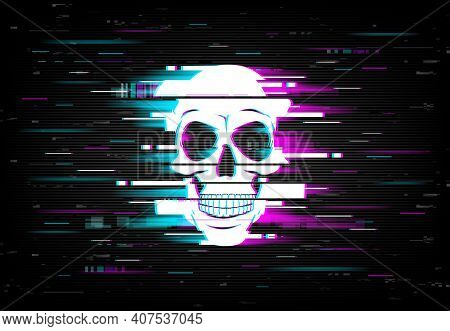 Glitch On Computer Screen With Smiling Human Skull. Artificial Intelligence, Computer Virus And Hack