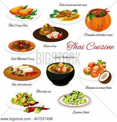 Thai Food And Thailand Cuisine Menu, Asian Restaurant Dish Plates, Vector. Traditional Thai Food, Ch