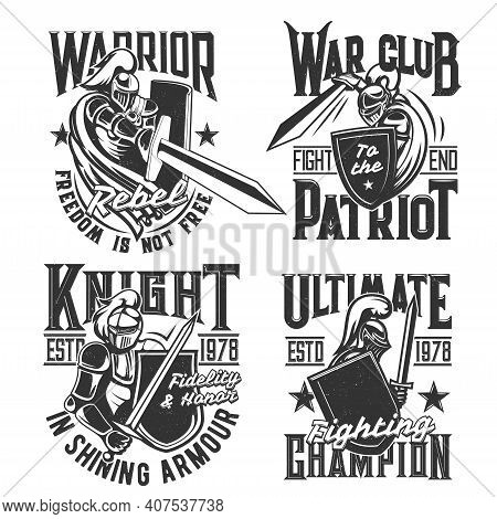 T-shirt Print With Knights Hold Shield And Sword Vector Mascot, Medieval Warrior In Helmet Attack. M