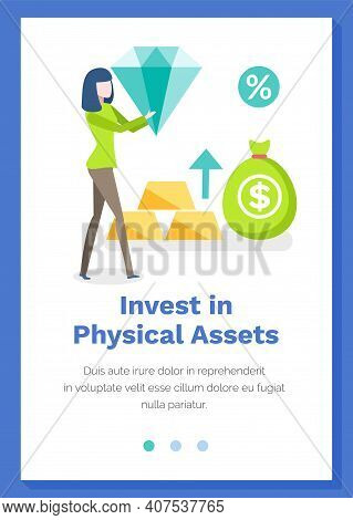 Investing In Physical Assets Concept. Woman Is Holding Diamond. Stone And Gold Bars Of Investors. We