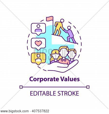 Corporate Values Concept Icon. Worker Adaptation Elements. Set Of Guiding Principles Idea Thin Line