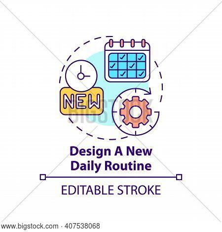 Design New Daily Routine Concept Icon. Newbie Adaptation Tips. Opportunity Break Habits Idea Thin Li