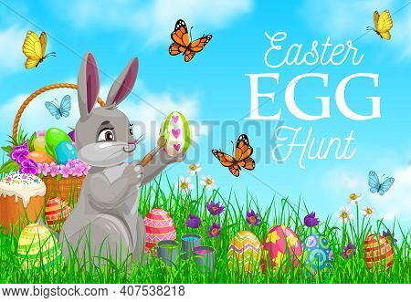 Easter Egg Hunt Vector Poster, Cute Bunny Decorate Egg On Field With Flowers And Butterflies. Cartoo