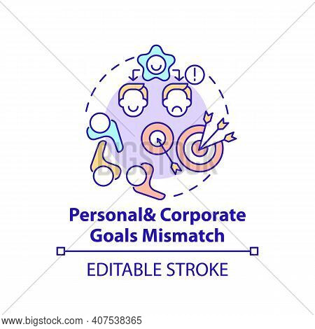Personal And Corporate Goals Mismatch Concept Icon. New Worker Emotional Burden Factors. Unwanted Wo