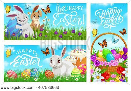 Happy Easter Vector Banners, Cartoon Bunnies With Painted Eggs On Meadow With Green Grass Blades, Fl