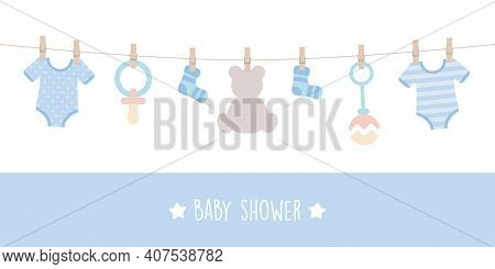 Baby Shower Welcome Greeting Card For Childbirth With Hanging Utensils Vector Illustration Eps10