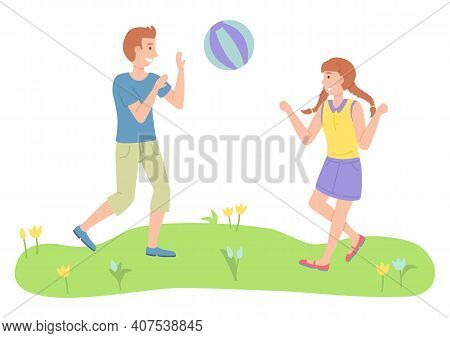 Illustration Of The Two Children Playing Toy Ball Near The Park. The Best Summer Child S Outdoor Act