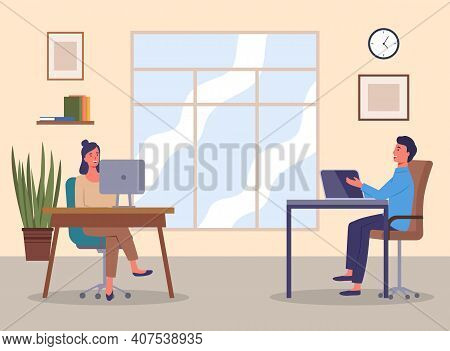 Colleagues In Office Flat Vector Illustration. Coworkers Talking Sitting At A Table Cartoon Characte