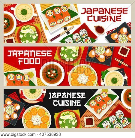 Japanese Food Vector Chicken Soup With Spinach, California Or Philadelphia Sushi And Salmon Rolls. M