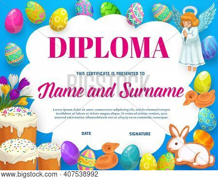 Diploma Or Certificate Of Kids Education With Vector Frame Background Of Easter Eggs, Flowers And Sw